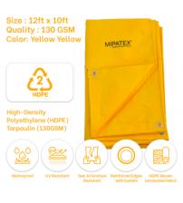 Mipatex Tarpaulin / Tirpal 12 Feet x 10 Feet 130 GSM (Yellow)