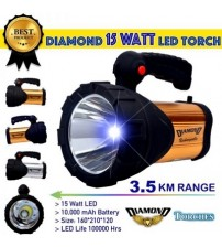15W Rechargeable LED Torch with SOS Function